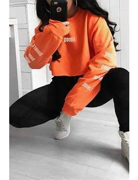 Double Print Loose Cropped Sweatshirt by Lupsona