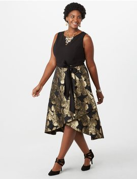 Plus Size Luxe By Carmen Marc Valvo Belted Floral Flare Dress by Dressbarn