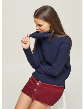 Petite Navy Funnel Neck Knitted Jumper by Miss Selfridge