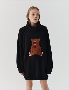 Lazy Oaf Teddy Knitted Jumper Dress by Lazy Oaf