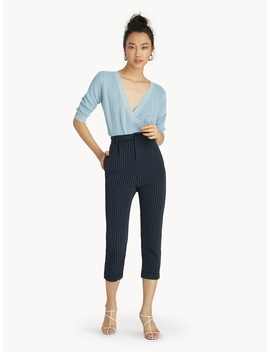 Stripe High Waist Cropped Pants   Navy by Pomelo