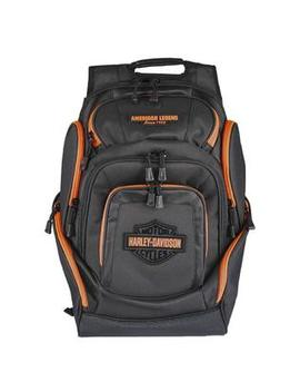 Harley Davidson Neon Orange Bar & Shield Deluxe Backpack, Black Bp2000 S Orgblk Harley Davidson Neon Orange Bar & Shield Deluxe Backpack, Black Bp2000 S Orgblk by Sears