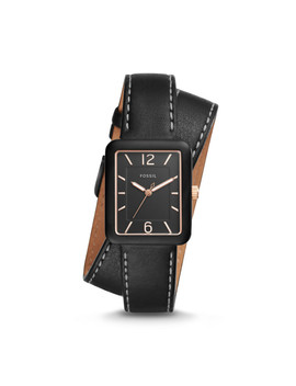 Atwater Three Hand Black Leather Wrap Watch by Fossil