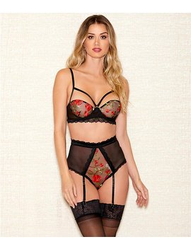 Zarina Rose Bra &Amp; Garter Panty Set by I Collection