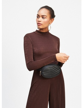 Chocolate Brown Long Sleeve Slinky Ribbed Tie Back Top by Miss Selfridge