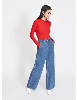 Red Long Sleeve Funnel Neck Body by Miss Selfridge