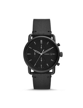Commuter Chronograph Black Leather Watch by Fossil