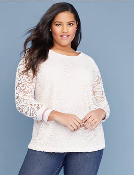 Lace Front Sweatshirt by Lane Bryant
