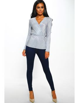 Sweetie Grey Long Sleeve Plisse Wrap Top by Pink Boutique