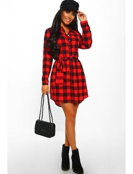 Up To Check Red Checked Shirt Dress by Pink Boutique