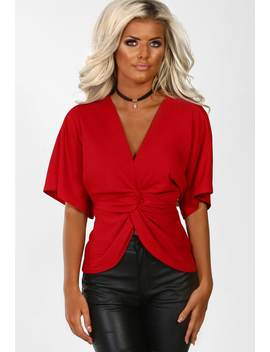 Let Me Down Red Knot Detail Batwing Top by Pink Boutique