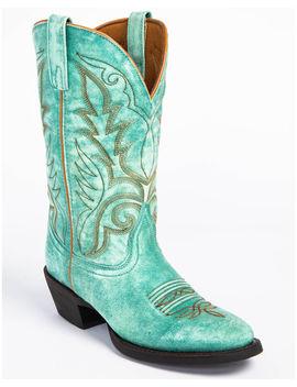 Laredo Women's Sofia Turquoise Leather Cowgirl Boots   Medium Toe by Laredo