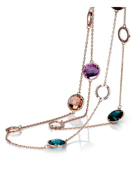 Riot Gold Plated Multi Stone Necklace by Caromay Jewellery                                      Sold Out