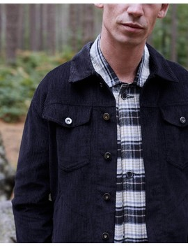 Cord Worker Jacket Black by The Idle Man