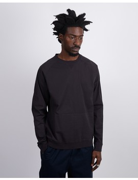 Haymarket Woven Sweatshirt With Stretch Charcoal Grey by The Idle Man