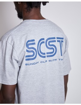 Super  Dreamcast Sunday Club T Shirt Grey (Blue Text) by The Idle Man