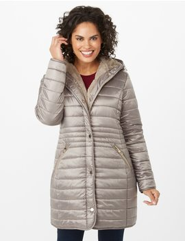 Faux Fur Hooded Jacket by Dressbarn