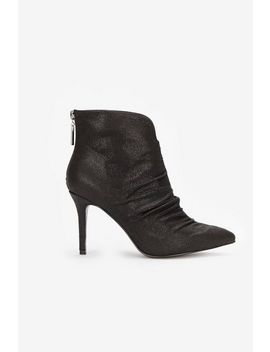 Black Ruched Detail Ankle Boot by Wallis