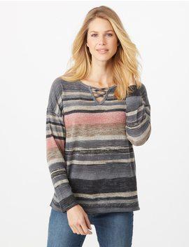 Striped Crisscross Sweater by Dressbarn
