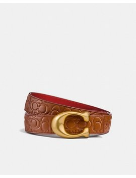 Sculpted Signature Reversible Belt In Signature Leather by Coach