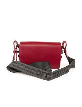 Textile Flap Crossbody Bag With Binder Clip   Burgundy by Off White