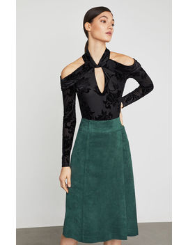 Cold Shoulder Velvet Bodysuit by Bcbgmaxazria