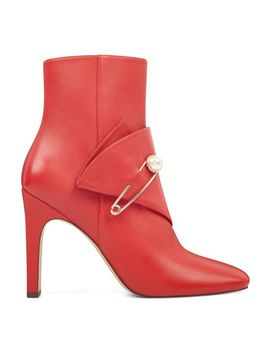 Quitit Booties   Fiery Red Leather by Nine West