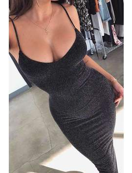 Sexy Glitter Strappy Slim Dress by Lupsona