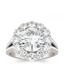 Forever One 4.22 Ctw Round Colorless Moissanite Split Shank Halo Engagement Ring In 14 K White Gold by Charles And Colvard