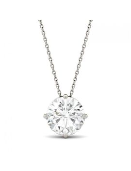 Forever One 3.27 Ctw Hearts & Arrows Colorless Moissanite Solitaire Pendant In 14 K White Gold by Charles And Colvard