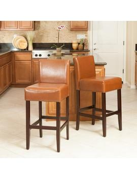 Lowry Leather 30 Inch Bar Stool (Set Of 2) by Gdf Studio