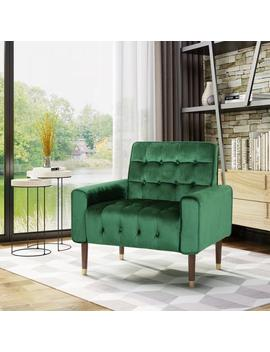 Betsy Velvet Armchair, Modern Glam, Button Tufted, Waffle Stitching by Gdf Studio