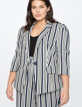 Stripe One Button Blazer by Eloquii