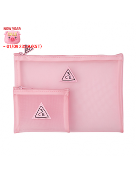 [3 Ce] Pink Rumour Mesh Pouch by Style Korean