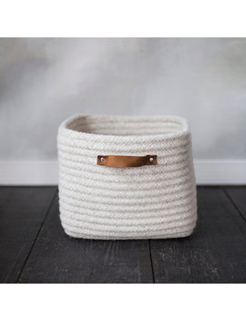 Leather Handle Wool Storage Basket by Terrain