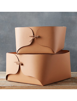 Folded Leather Basket by Terrain