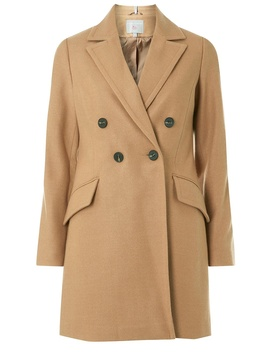 Petite Camel Double Breasted Coat by Dorothy Perkins