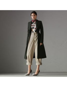 Crested Button Wool Tailored Coat by Burberry