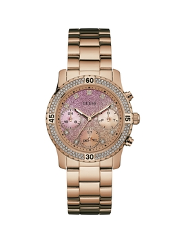 Guess Ladies Rose Gold Bracelet Watch With Crystal Detailing by Guess