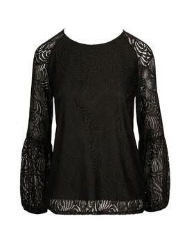 Lace Lantern Sleeve Top by Ricki's