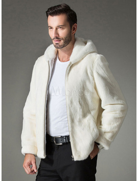 White Fur Coat Hooded Zipper Faux Fur Slim Fit Bomber Jacket For Men by Milanoo