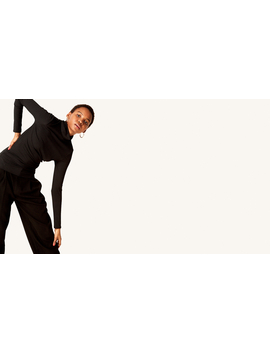 Black Rib Roll Neck Top by Nobody's Child