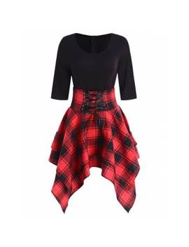 "<P>Lace Up Plaid Asymmetrical Dress</P><I Class=""Icon Down Js Tap Up Down""></I> by Dress Lily"
