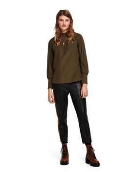 Contrast Panel Leather Trousers by Scotch&Soda