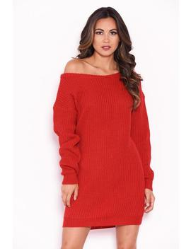 Red Boatneck Longline Jumper by Ax Paris