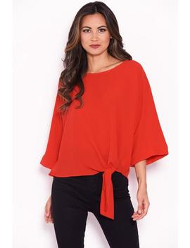 Red Wide Sleeve Top by Ax Paris
