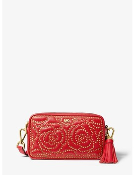 Small Rose Studded Leather Camera Bag by Michael Michael Kors