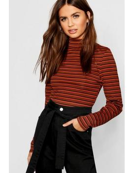 Stripe Rib Long Sleeve High Neck Top Stripe Rib Long Sleeve High Neck Top by Boohoo