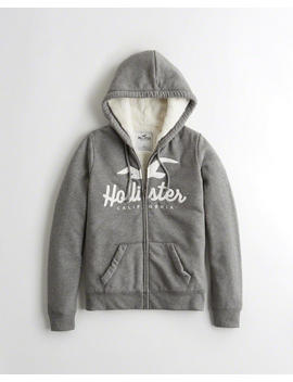 Sherpa Lined Full Zip Hoodie by Hollister