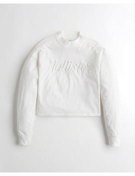 Crop Boyfriend Mockneck Graphic Tee by Hollister